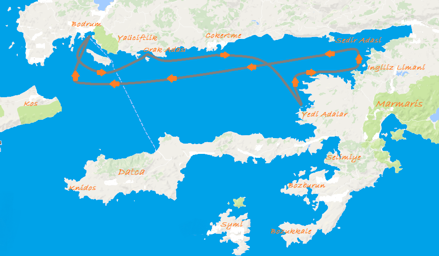 Gulet Sailing Turkey - Bodrum Gokova Route